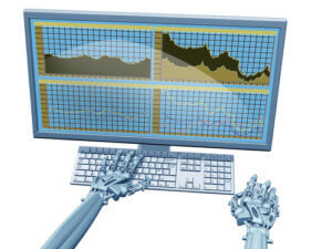 Illustration of a robot trader on a computer